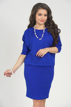 Синее платье с напуском Liora