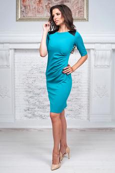 Платье с кожаными вставками на плечах Angela Ricci