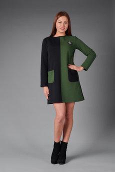 Двухцветное платье: черный и хаки Трикотажница